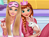 Принцессы Диснея вечеринка в пижамах