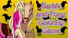 Раскраска: Барби и конь